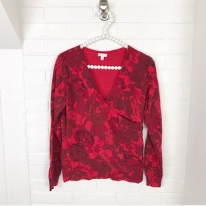 {Talbots} Faux Wrap Red Floral Print Sweater